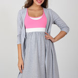 Комплект для беременных и кормящих мам, серый меланж розовый