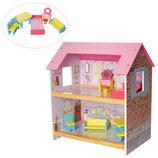 Дoмик для кукoл деревянный 1052 2 комнаты мебель
