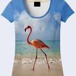 Женская футболка 3D Фламинго и океан Большой выбор