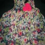 Яркое платье с бабочками H&M 2-3г