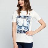 в наличии фирменная женская футболка LC Waikiki белого цвета с рисунком на груди и надписью Paris