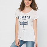 в наличии фирменная женская футболка LC Waikiki серебряного цвета с надписью на груди Always