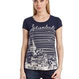 в наличии фирменная женская футболка LC Waikiki темно-синего цвета с надписью на груди Istanbul