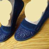 Синие,белые,черные,беж балетки коттон сетка-36-41р-р.