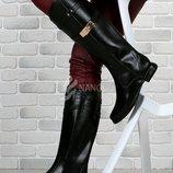 Сапоги женские резиновые высокие Hermès черные на молнии