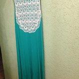 Платье в пол, с кружевом, салатовое, фирмы Некст Англия, 50-54