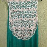 Платье в пол, с кружевом, салатовое, фирмы Некст Англия