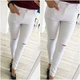 Женские стильные летние брюки 2114 Джинс Колени Прорези .
