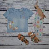 12 - 18 месяцев 86 см Футболка майка блуза джинсовая для модниц кролики Next некст