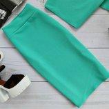 Шикарная классическая юбка-карандаш трикотажная Кукуруза 5 цветов пояс на резинке от р40 по р46