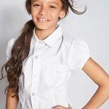 Блуза белая школьная c коротким рукавом Некст на девочку Размер 6 лет