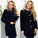 Женский стильный кардиган-пальто кашемир в больших размерах 044 Black .