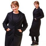Женское стильное пальто средней длины в больших размерах 164-1 Кашемир Классика Миди в расцветках.