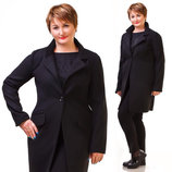 Женское стильное короткое пальто в больших размерах 163-1 Кашемир Одна Пуговица в расцветках.