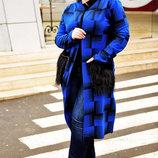 Стильное женское пальто-кардиган в больших размерах 355 Кашемир Клетка Карманы Мех в расцветках.