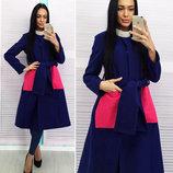 Женское стильное пальто средней длины до больших размеров 166 Кашемир Карманы Фетр в расцветках.