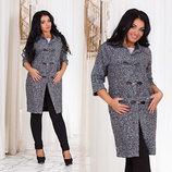 Женское стильное лёгкое демисезонное пальто в больших размерах 1098 Букле Дафл в расцветках.