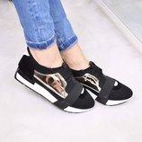 Кроссовки стильные кроссовки резинки черные