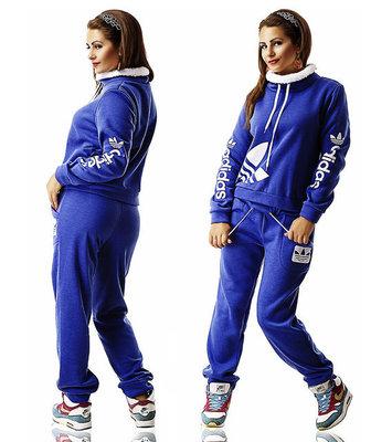 Тёплый женский спортивный костюм на байке в больших размерах Адидас Стойка  Мех в расцветках. 4eb91c406c5