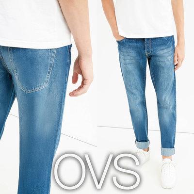 Прямі чоловічі джинси з потертостями S від фірми OVS Італія