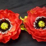 Брошь Мак , заколка, резинка, авторская ручная работа, цветок 10-11 см