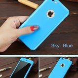 Розовый и голубой чехол 360 противоударное стекло iphone 6 6s