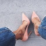 Туфли лодочки классические на шпильке замшевые марсала