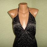 Нарядное черное стрейчевое платье со стразами, размер 12 длина без бретелек 100 длина от