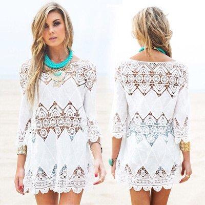 Белоснежная туника накидка платье ажурная на пляж кружево кружевная