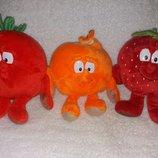 Мягкие игрушки из Биллы помидор мандарин клубника