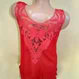 Суперцена. Эффектная блуза футболка, шифон. Вышивка. Новая, р. S/M, L/XL