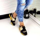 Женские черные кроссовки натуральная кожа