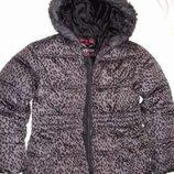 рост 140-146 см куртка детская леопард серая синтепон утепленная деми продается куртка