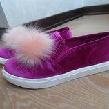 слипоны мокасины 38 рр 24 см балетки кросовки бархат велюр замша бомбон фиолетовые розовые