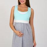 Ночная сорочка для беременных и кормящих Sela, серый меланж с ментолом