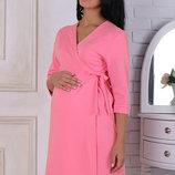 Халат для беременных и кормящих мам Sinty, из плотного хлопкового трикотажа, розовый