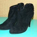 Сапоги женские чёрные демисезонные на каблуке натуральная замша р. 38 Kadandier