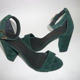 Новые женские босоножки замшевые зеленого пудра на толстом каблуке 36,37,38,39,40 Киев