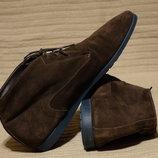 Мягенькие фирменные кожаные ботинки цвета горького шоколада Paul Smith