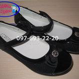 Туфли школьные на девочку черные Tom.m арт. р.32-37 туфлі чорні шкільні том м