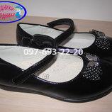 Туфли школьные на девочку черные Tom.m арт.1421-В р.26-31 туфлі чорні шкільні том м