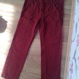 Модные подростковые джинсы-брюки на рост 152 см, 11-12 лет, коричневые, смотрите замеры. Состояние н