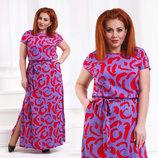 Летнее длинное женское платье до больших размеров 447 Штапель Японка Розы .