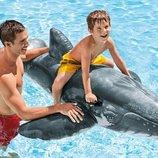 Серый кит акула Надувная огромная игрушка для плавания Intex 57530 Интекс Realistic Whale Ride-On