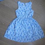 Платье девочке 6-8 лет оригинал бренд тонкое лето корал голубое F&F