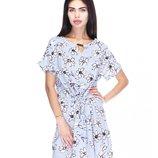 Большой размер Модное нежное летнее стильное платье-туника