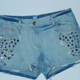 Крутые джинсовые шорты с камнями,р-р 10,М,евро 38,в идеале