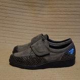 Легчайшие комбинированные серые кожаные туфельки Ara Германия 3 1/2 H.