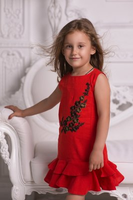 Платье цветок лён 116-146 р-р