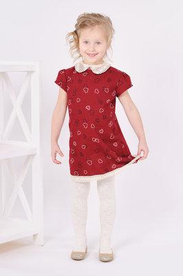 Платье для девочек 4 - 7 лет, фланель - Сердечки